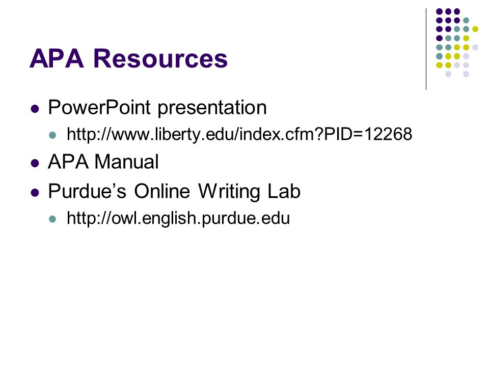 APA Resources PowerPoint presentation APA Manual
