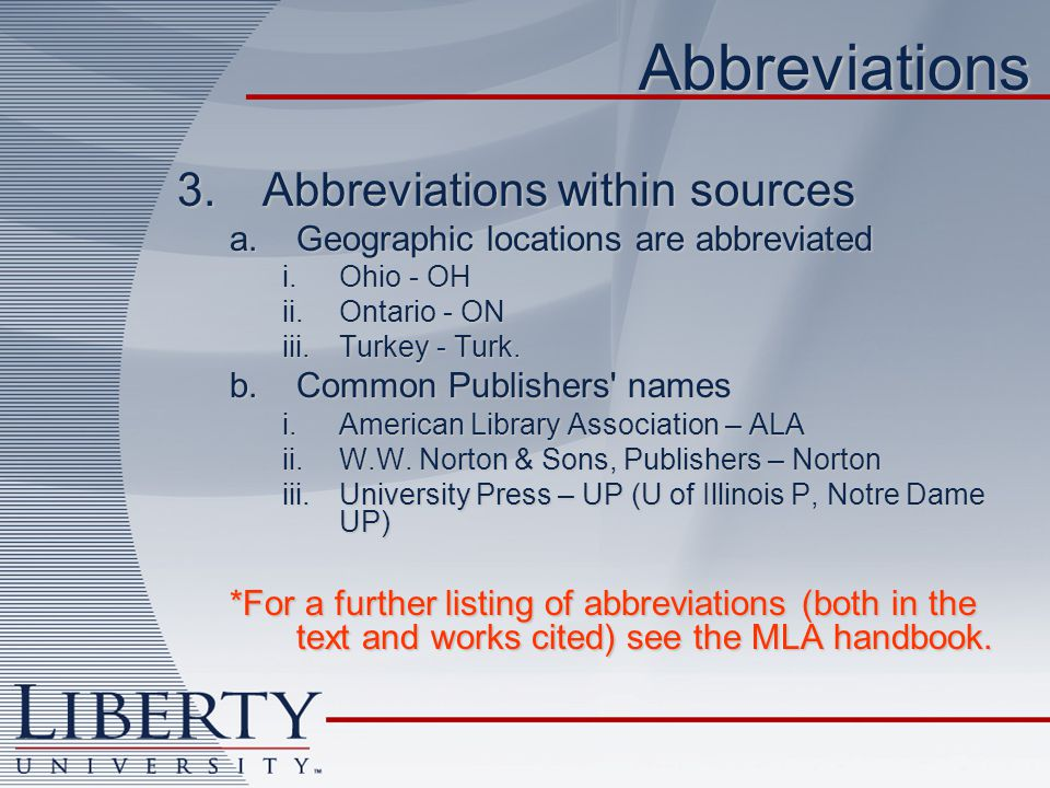Abbreviations Abbreviations within sources