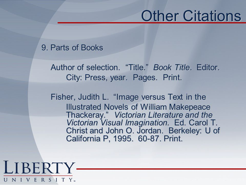 Other Citations 9. Parts of Books