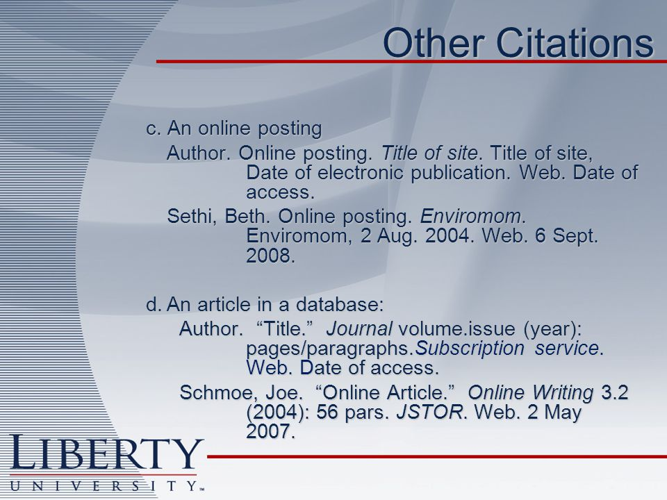 Other Citations c. An online posting