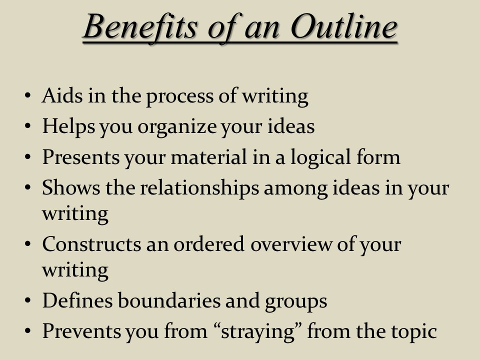 Benefits of an Outline Aids in the process of writing