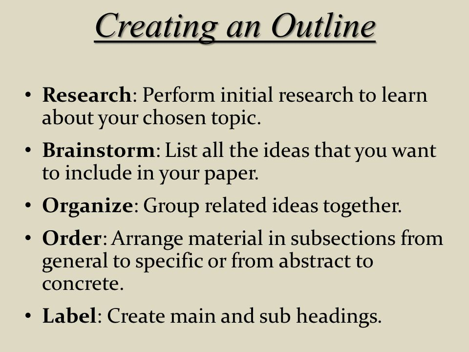 Creating an Outline Research: Perform initial research to learn about your chosen topic.