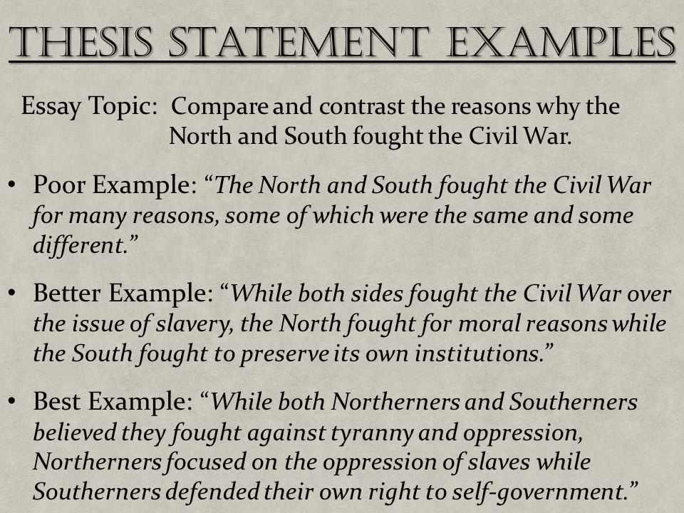 thesis statement for the civil war A thesis like the civil war was primarily an economic war precipitated by the agrarian states of the south losing power to a rapidly industrializing north.