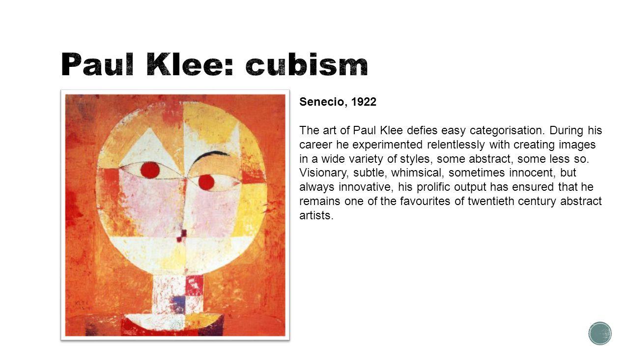 Paul Klee: cubism Senecio, 1922