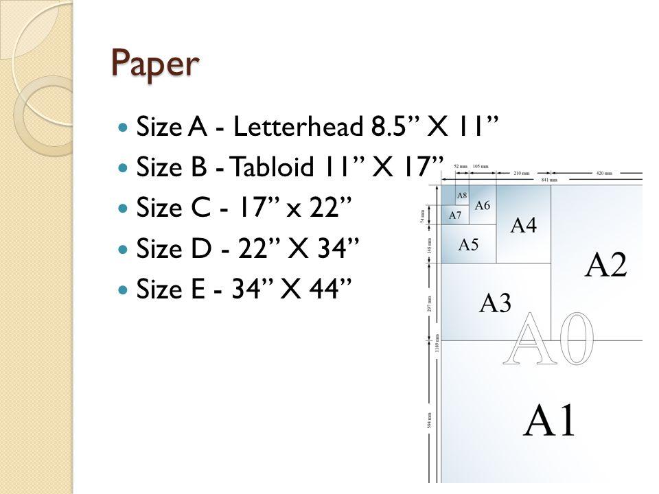 Paper Size A - Letterhead 8.5 X 11 Size B - Tabloid 11 X 17