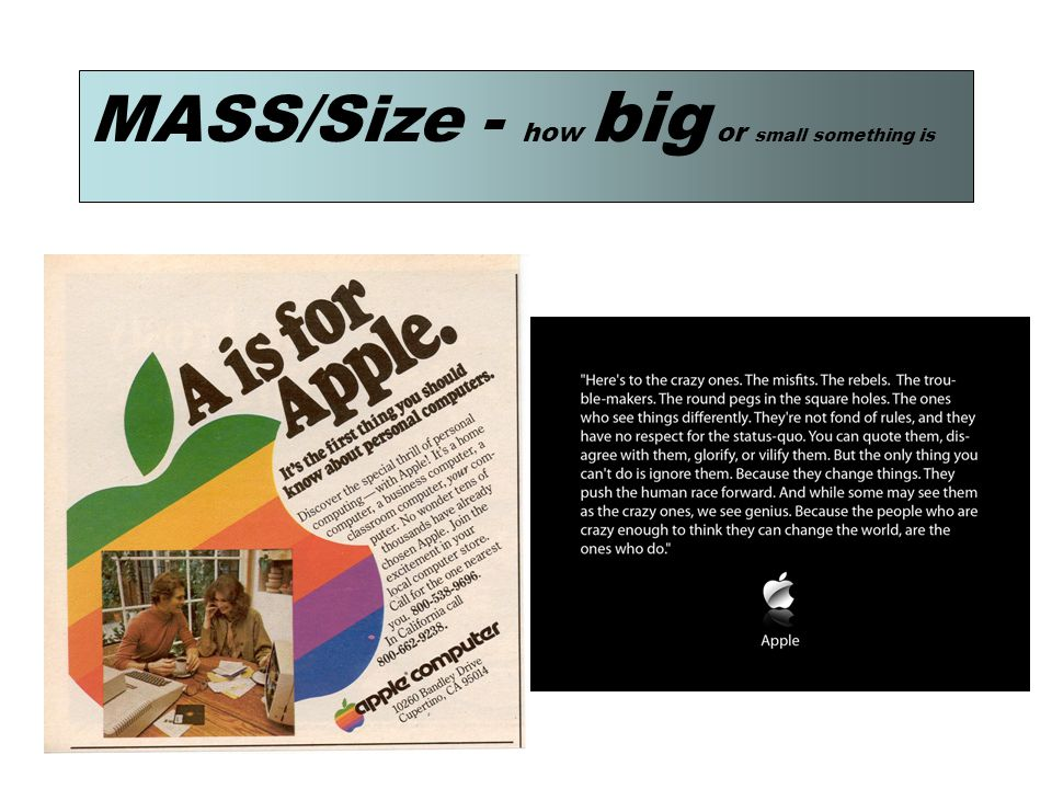 MASS/Size - how big or small something is