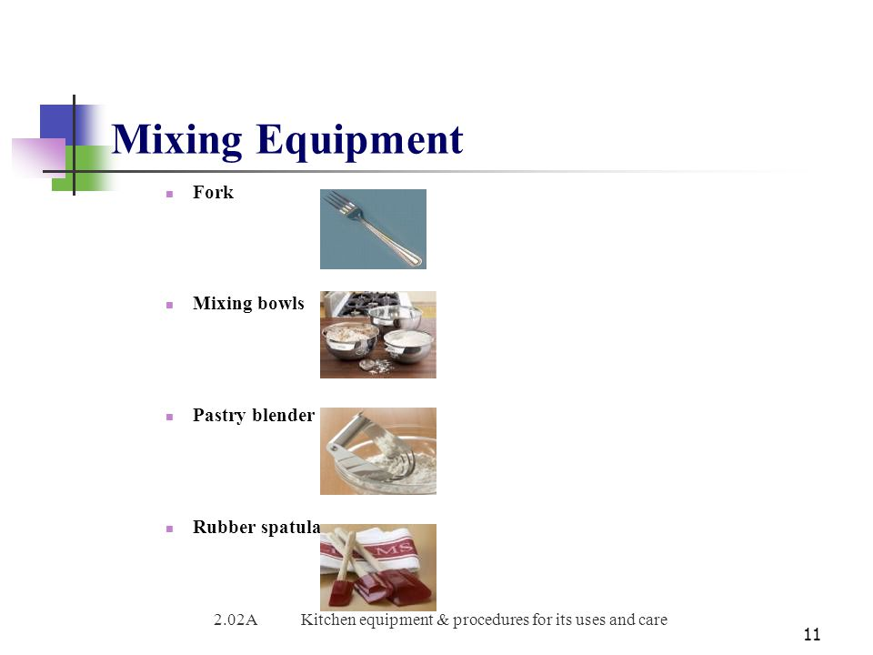 2.02A Kitchen equipment & procedures for its uses and care