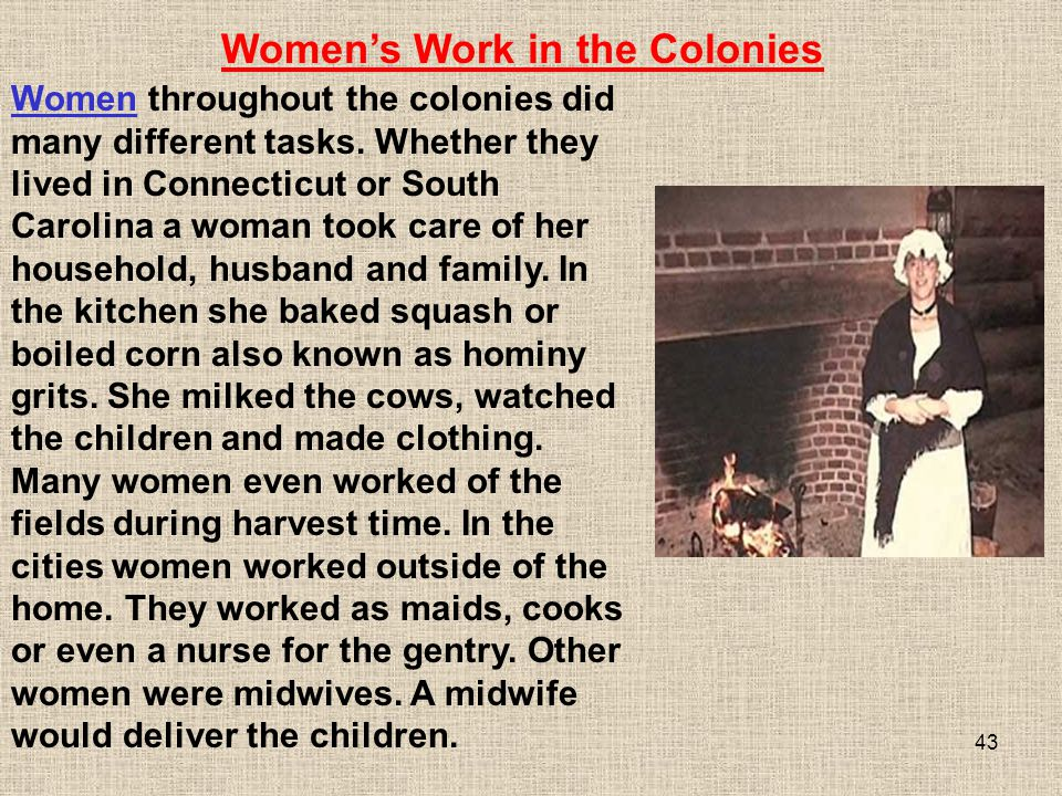 Women's Work in the Colonies