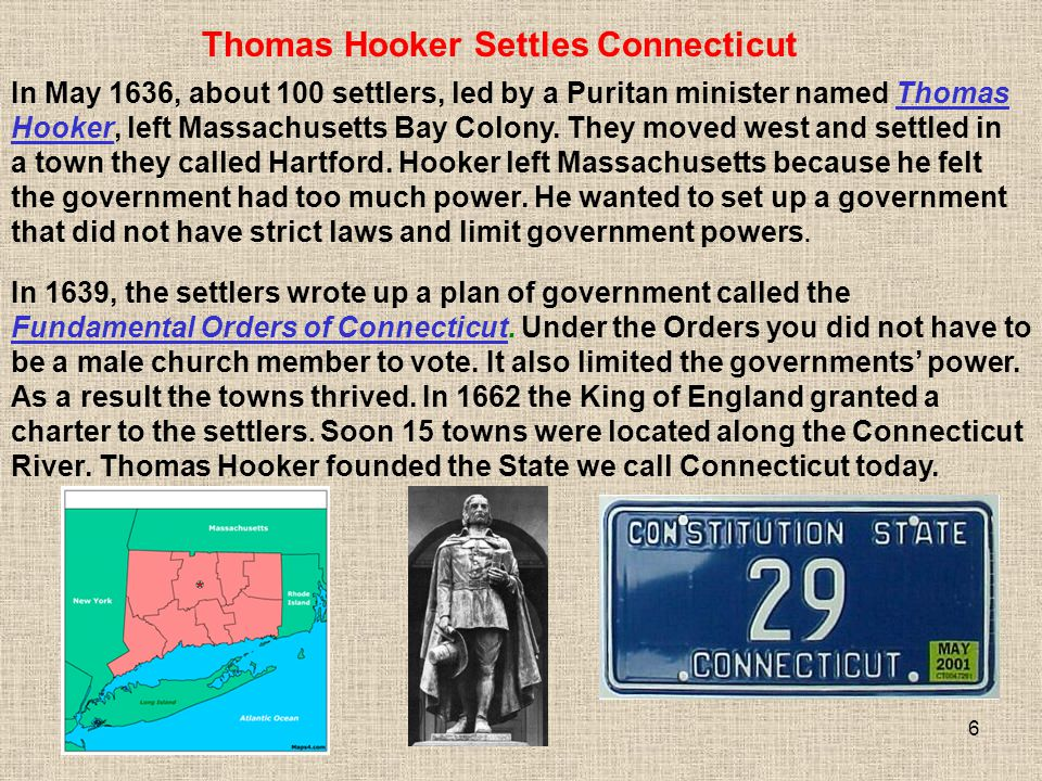 Thomas Hooker Settles Connecticut