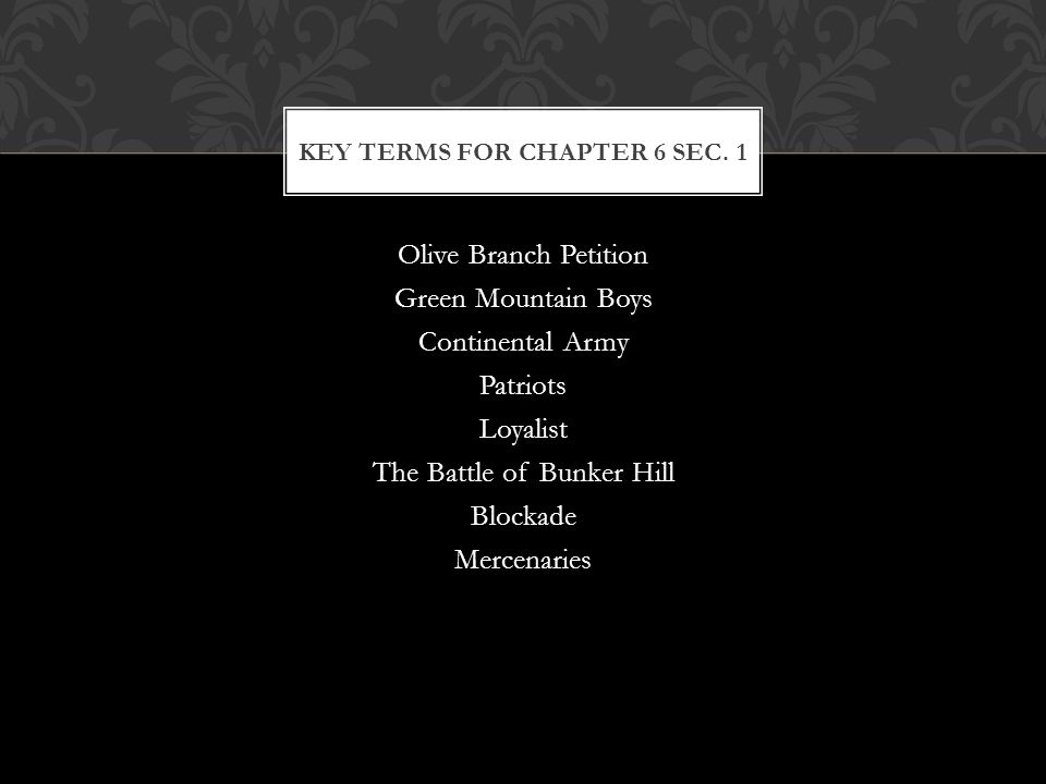 Key Terms for Chapter 6 Sec. 1