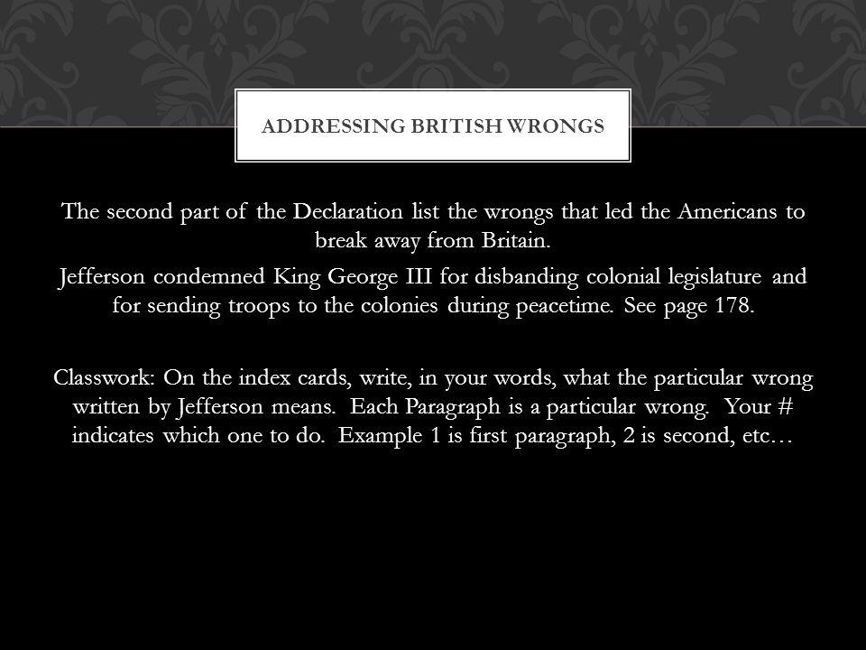 Addressing British Wrongs