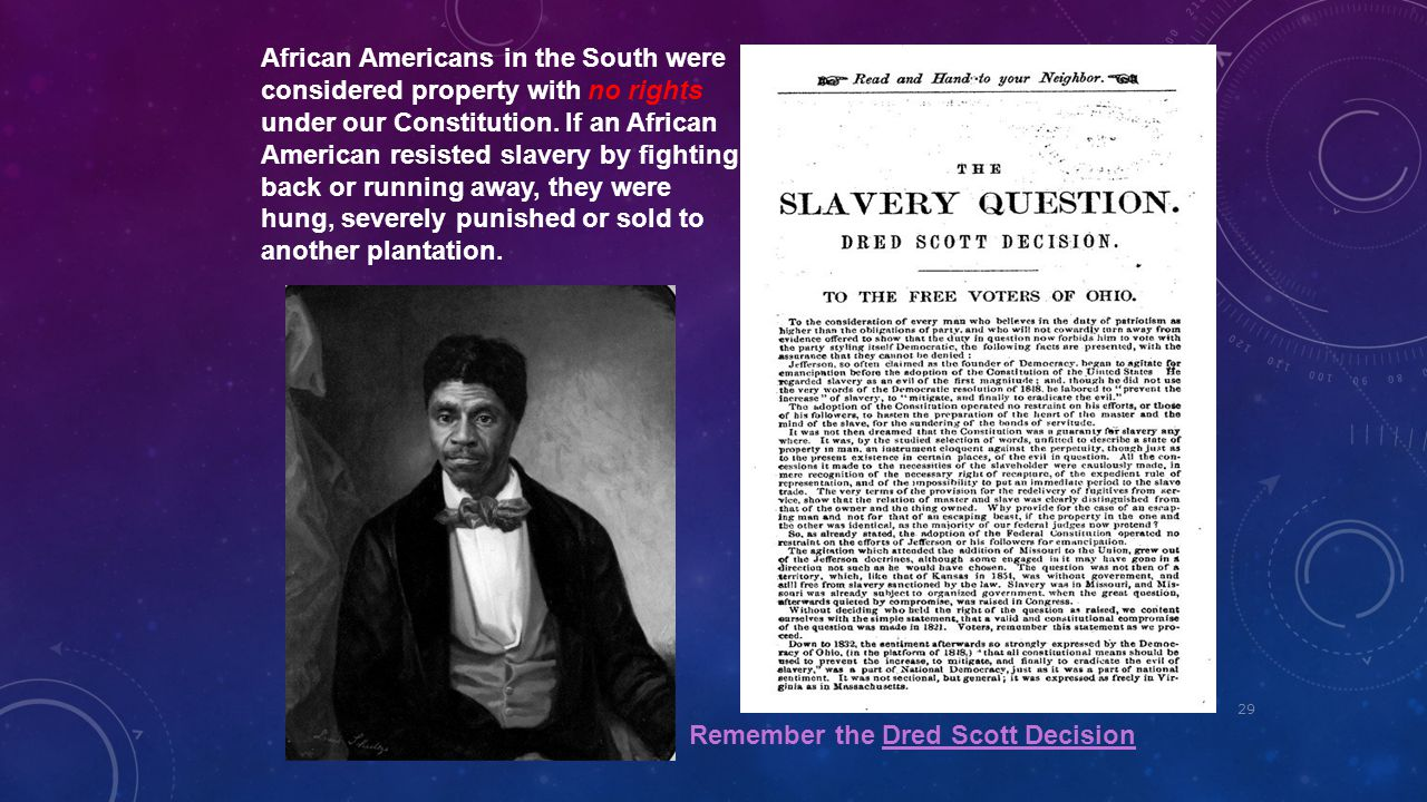 African Americans in the South were considered property with no rights under our Constitution. If an African American resisted slavery by fighting back or running away, they were hung, severely punished or sold to another plantation.