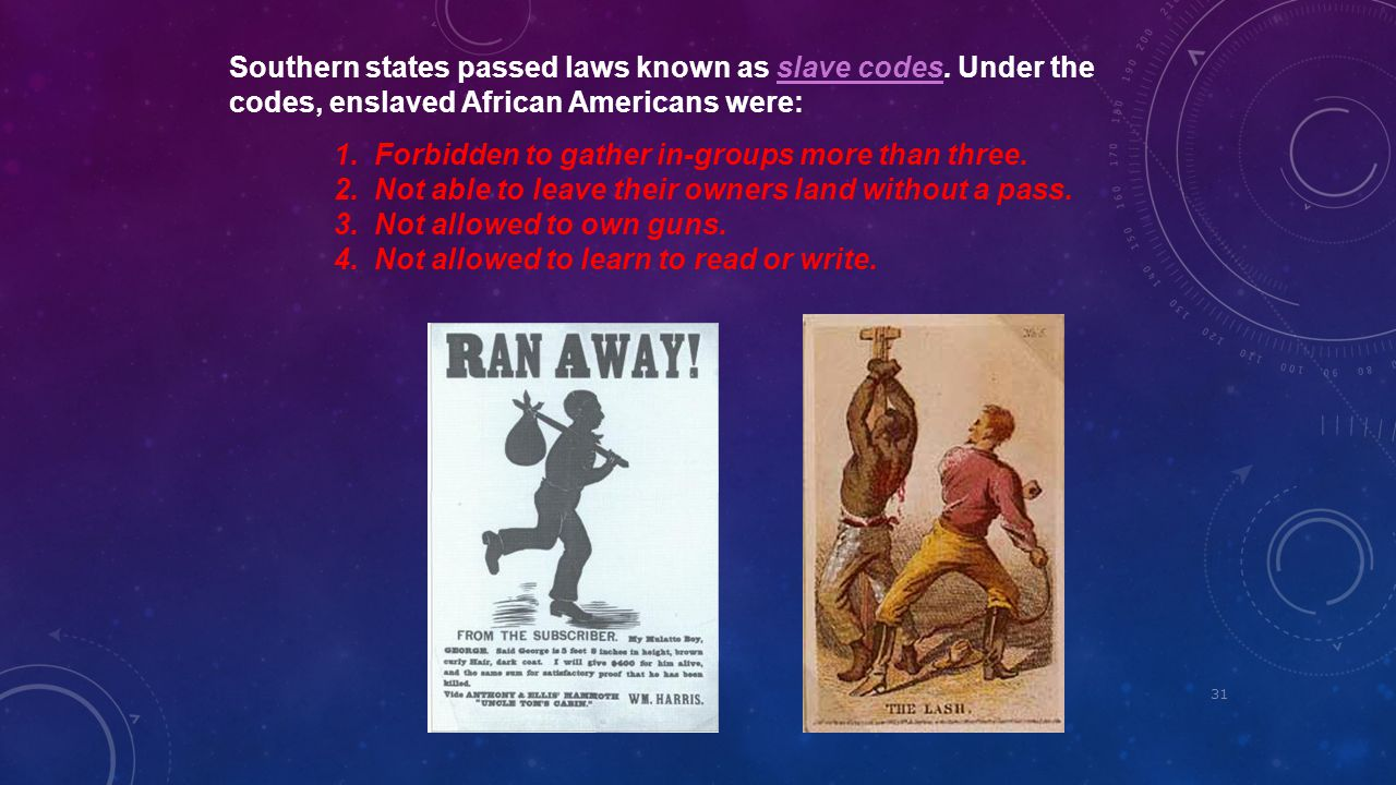Southern states passed laws known as slave codes