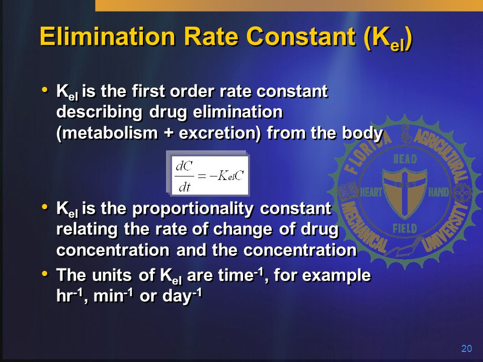 Elimination Rate Constant (Kel)
