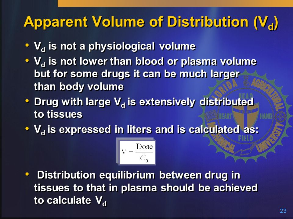 Apparent Volume of Distribution (Vd)