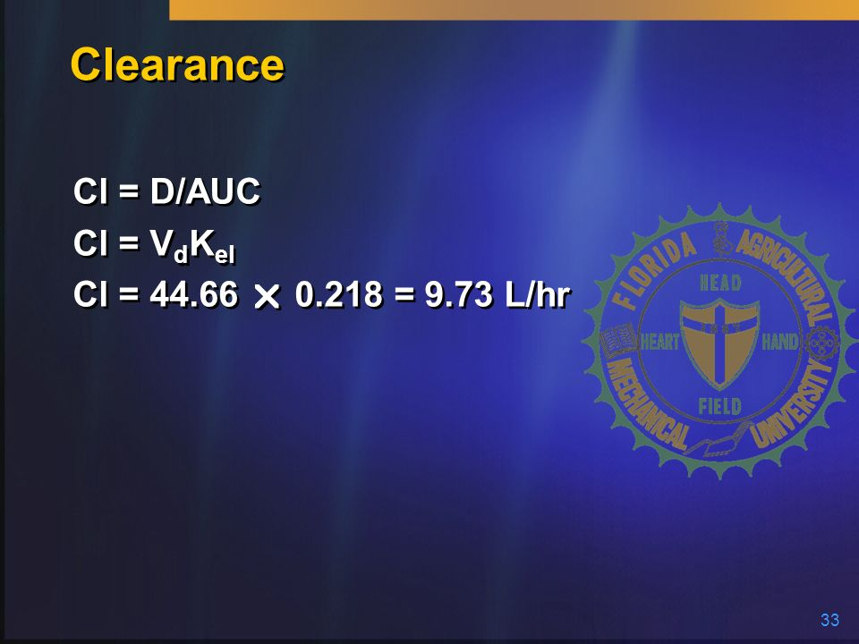 Clearance Cl = D/AUC Cl = VdKel Cl = 44.66  0.218 = 9.73 L/hr