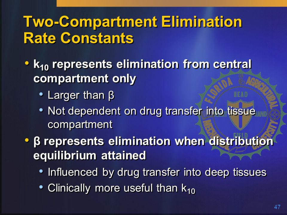 Two-Compartment Elimination Rate Constants