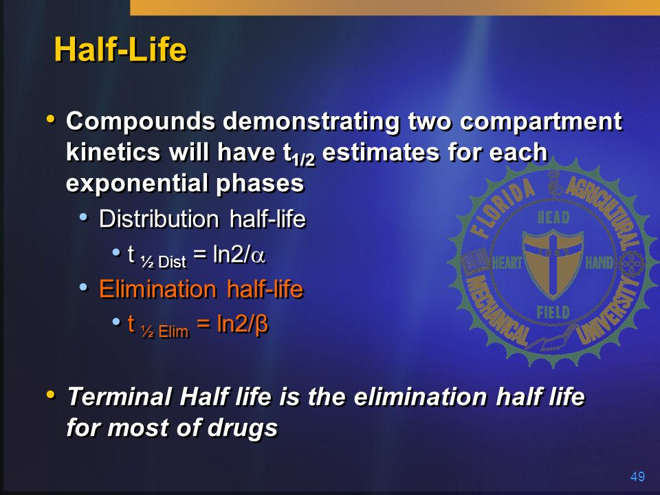 Half-Life Compounds demonstrating two compartment kinetics will have t1/2 estimates for each exponential phases.