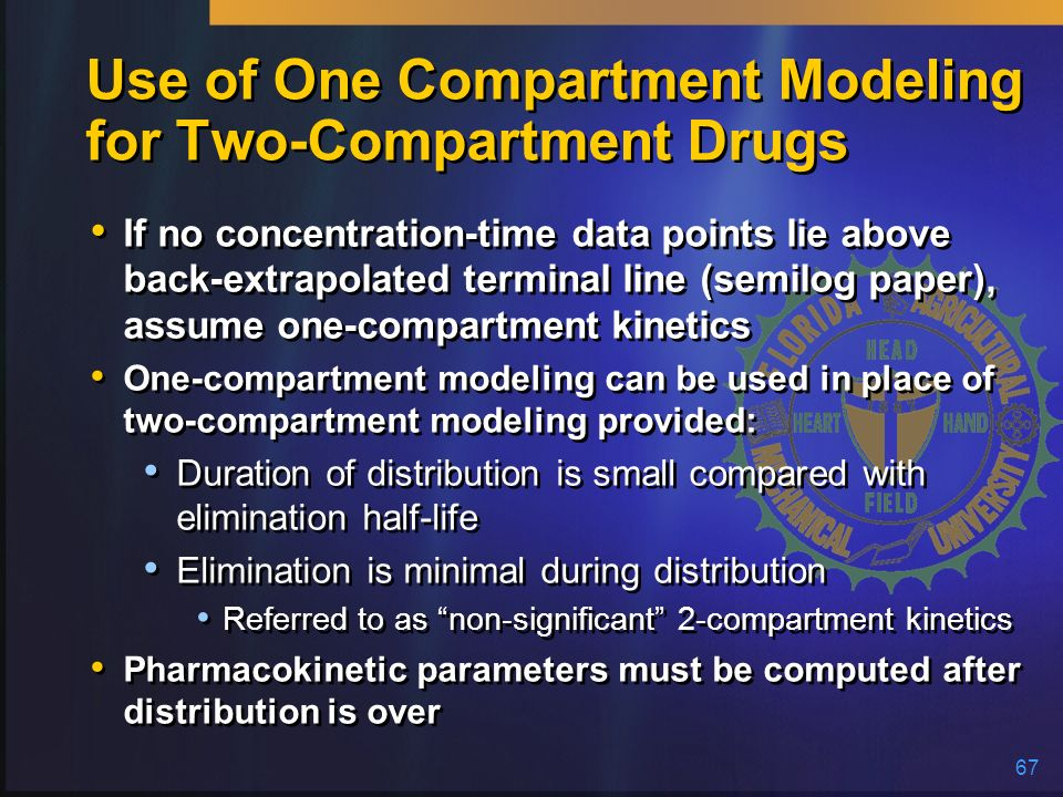 Use of One Compartment Modeling for Two-Compartment Drugs