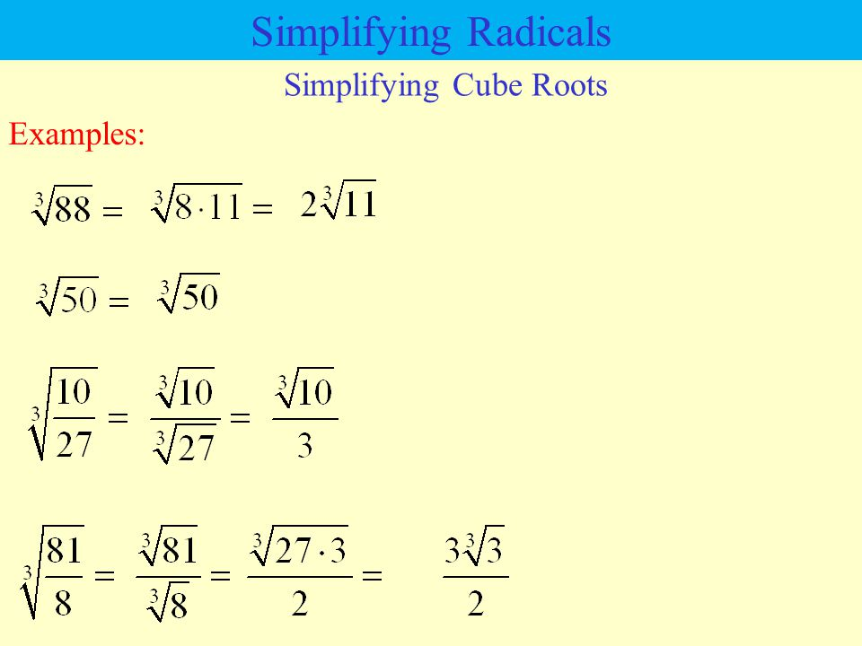 Simplifying Cube Roots