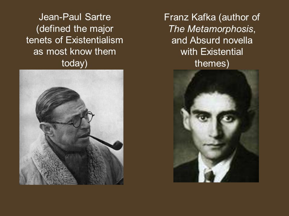 Franz Kafka (author of The Metamorphosis, and Absurd novella with Existential themes)