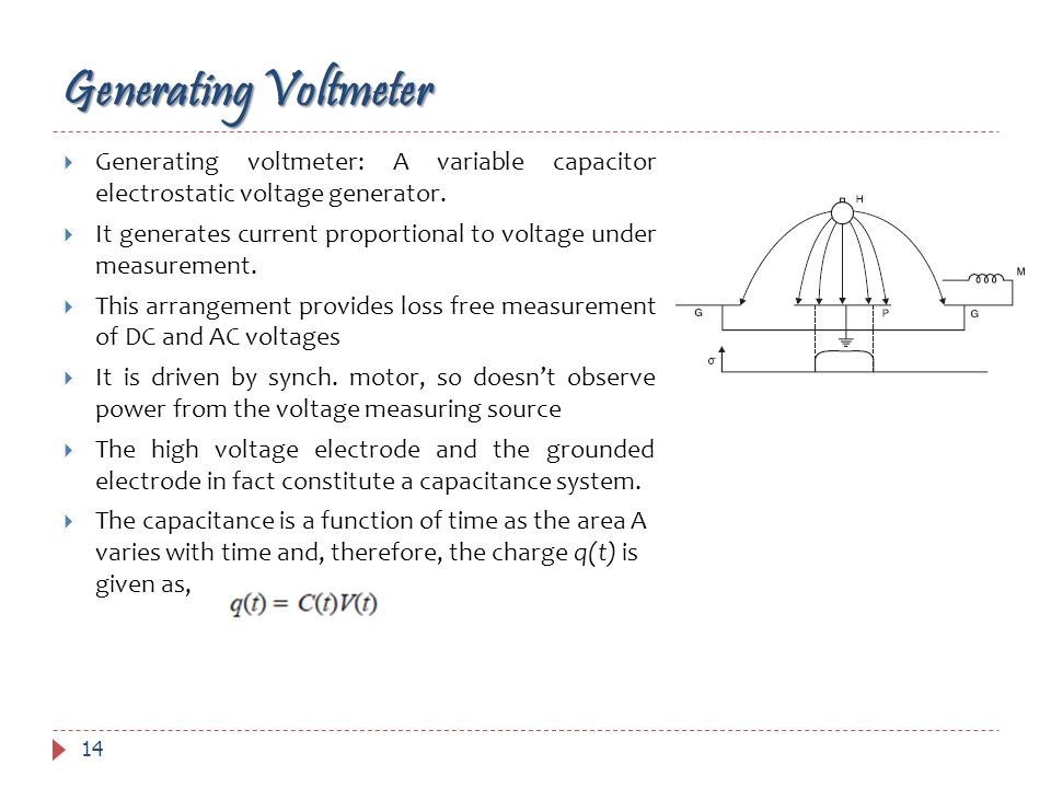 Generating VoltmeterGenerating voltmeter: A variable capacitor electrostatic voltage generator.