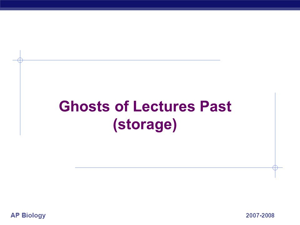 Ghosts of Lectures Past (storage)