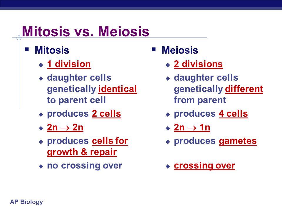 Mitosis vs. Meiosis Mitosis Meiosis 1 division
