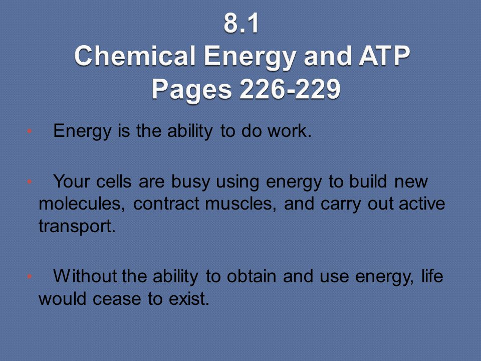 8.1 Chemical Energy and ATP Pages 226-229