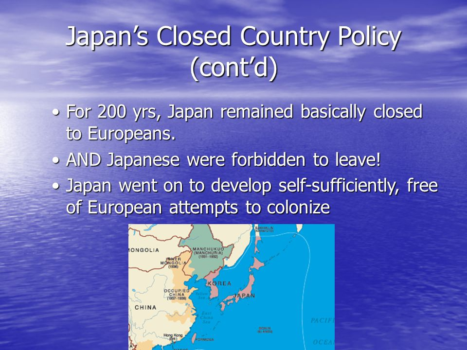 Japan's Closed Country Policy (cont'd)