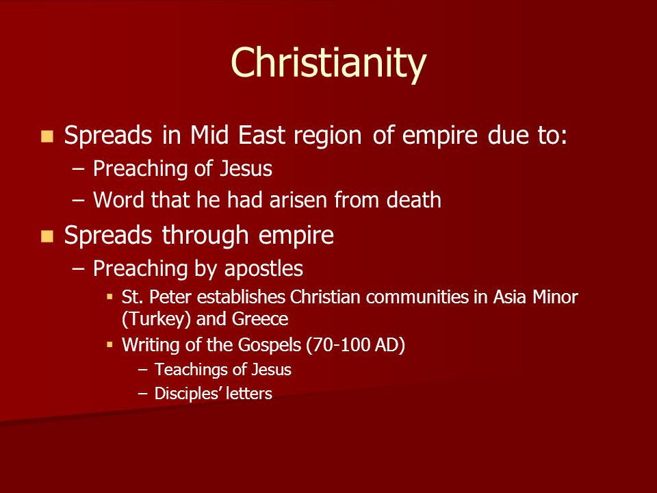 Christianity Spreads in Mid East region of empire due to: