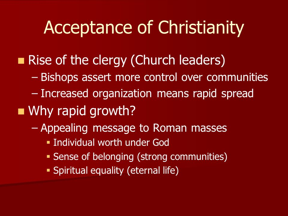 Acceptance of Christianity