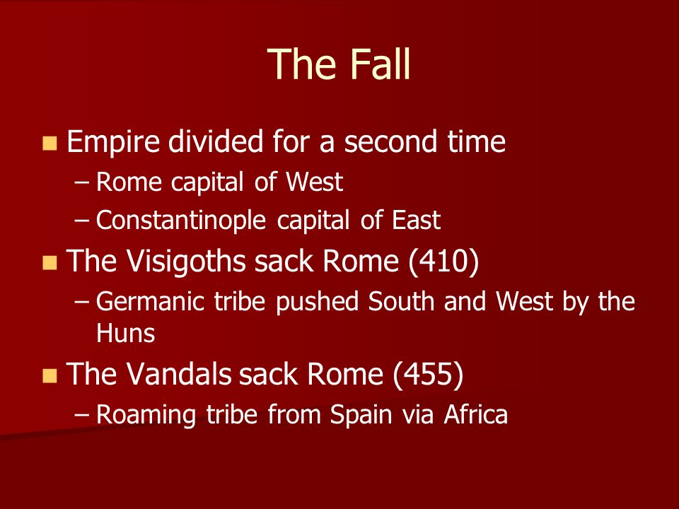The Fall Empire divided for a second time