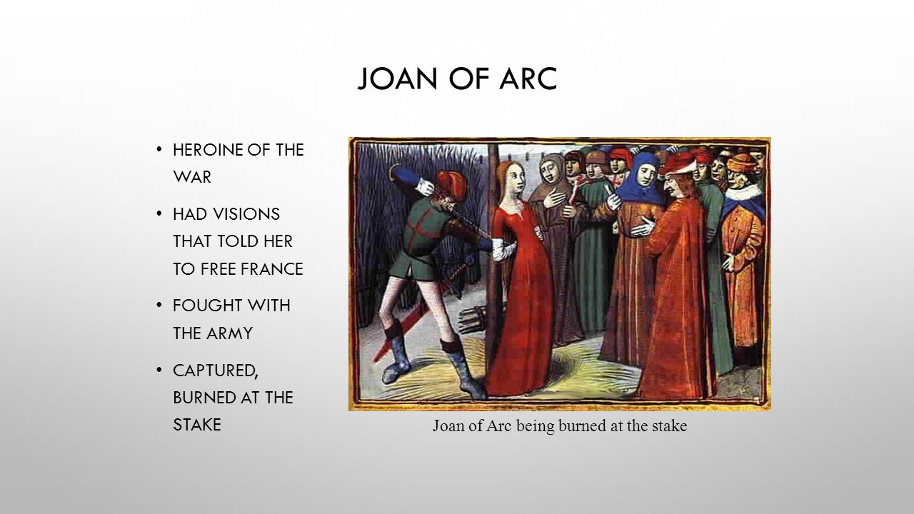 Joan of Arc being burned at the stake