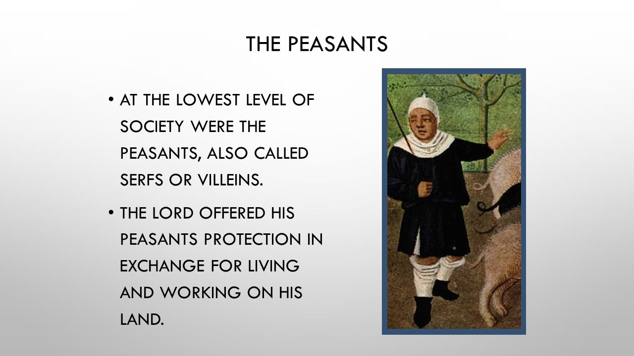 The Peasants At the lowest level of society were the peasants, also called serfs or villeins.