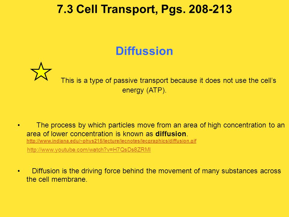 7.3 Cell Transport, Pgs. 208-213 Diffussion This is a type of passive transport because it does not use the cell's energy (ATP).