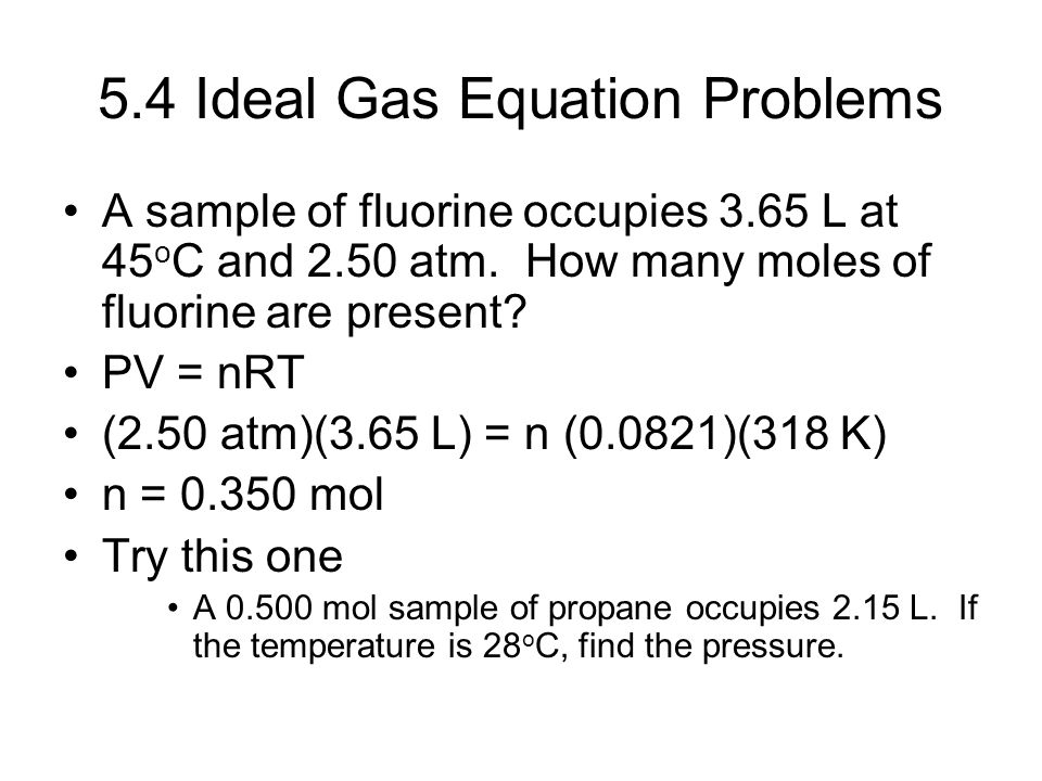 5.4 Ideal Gas Equation Problems