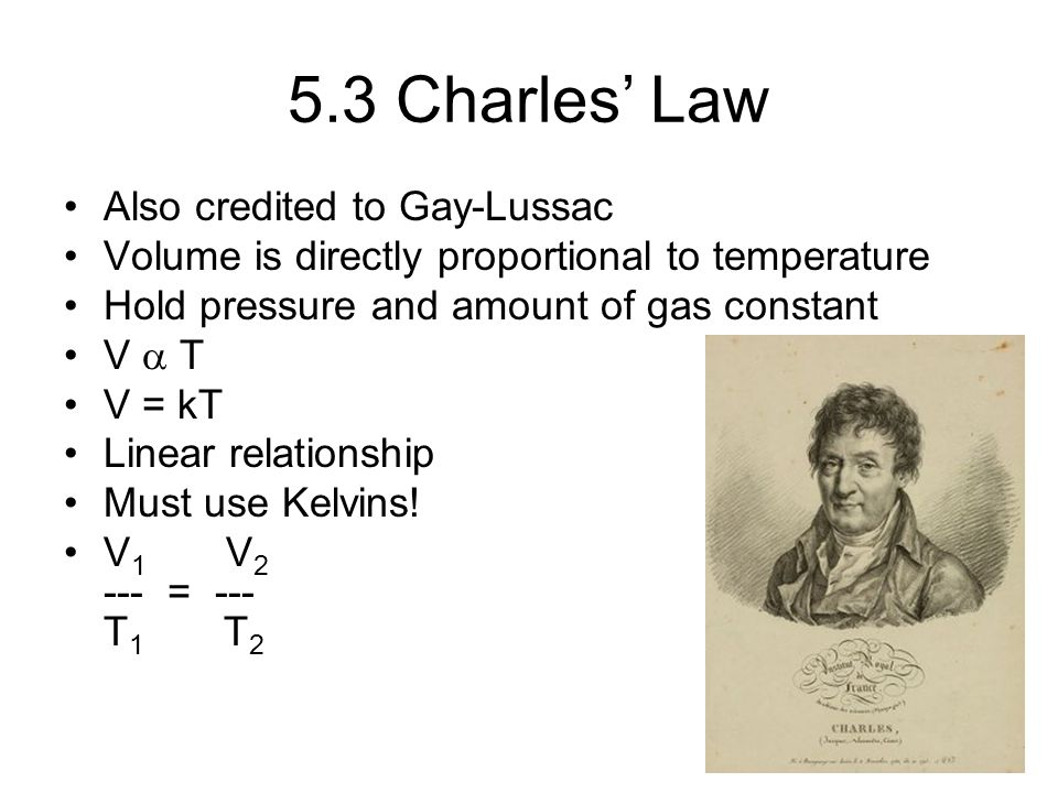 5.3 Charles' Law Also credited to Gay-Lussac