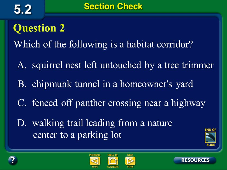 Question 2 Which of the following is a habitat corridor