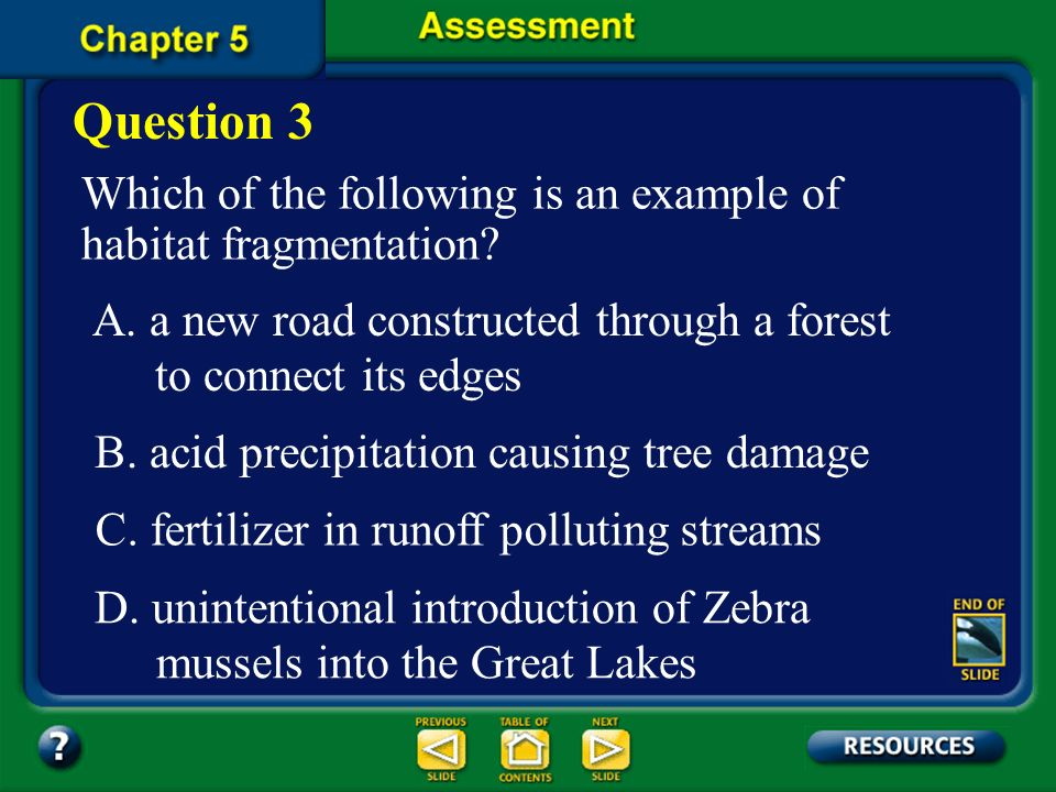 Question 3 Which of the following is an example of habitat fragmentation A. a new road constructed through a forest.