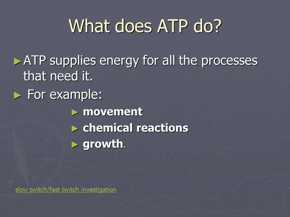 What does ATP do ATP supplies energy for all the processes that need it. For example: movement. chemical reactions.