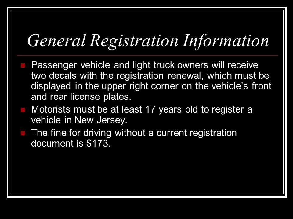 General Registration Information