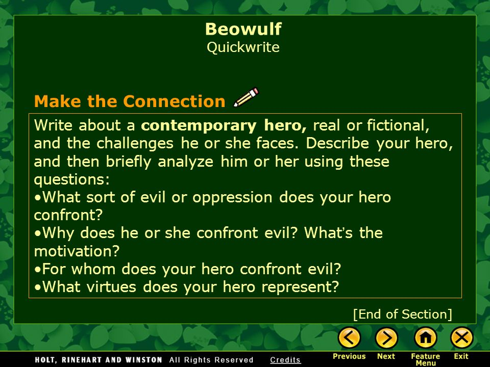 Beowulf Quickwrite Make the Connection