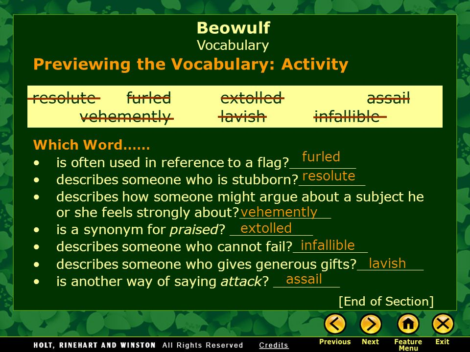 Beowulf Vocabulary Previewing the Vocabulary: Activity