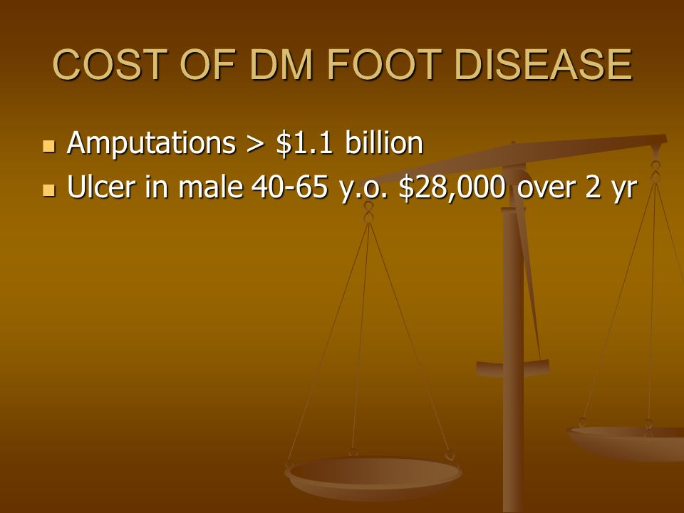 COST OF DM FOOT DISEASE Amputations > $1.1 billion