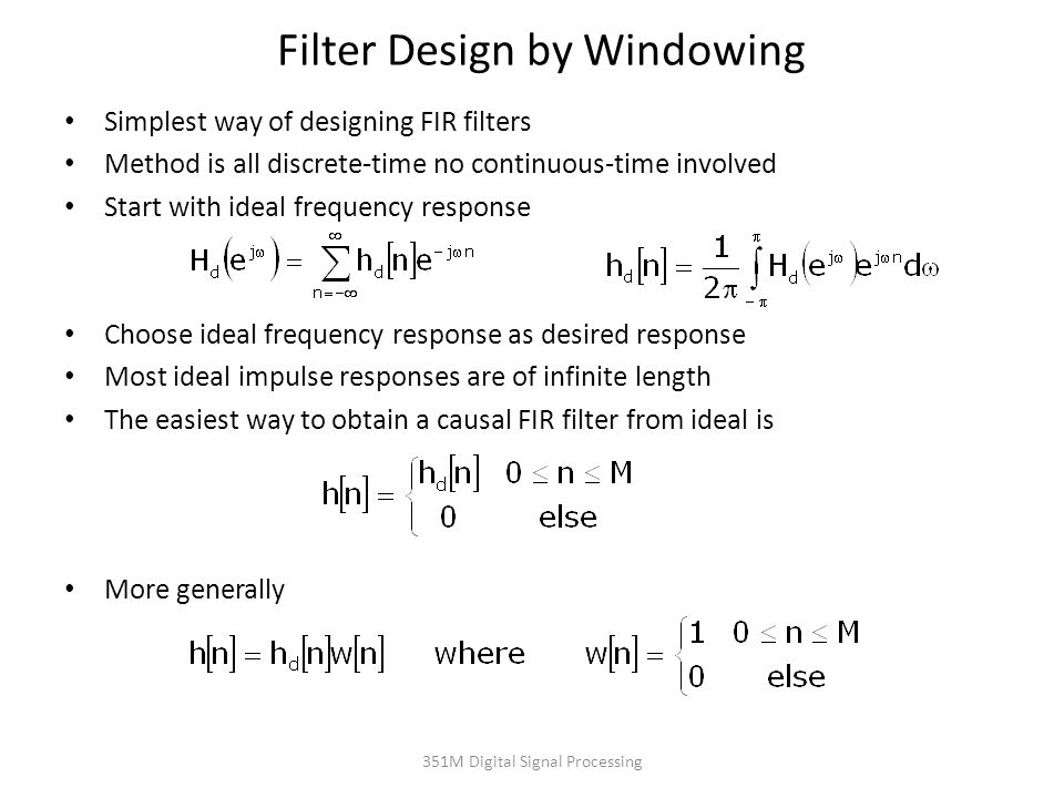 Filter Design by Windowing