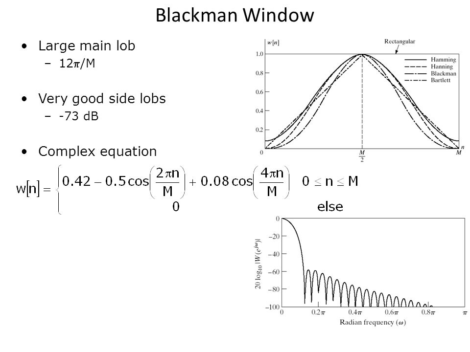 Blackman Window Large main lob Very good side lobs Complex equation