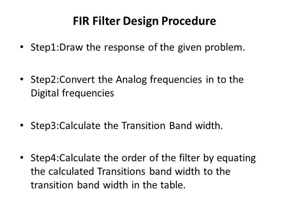 FIR Filter Design Procedure