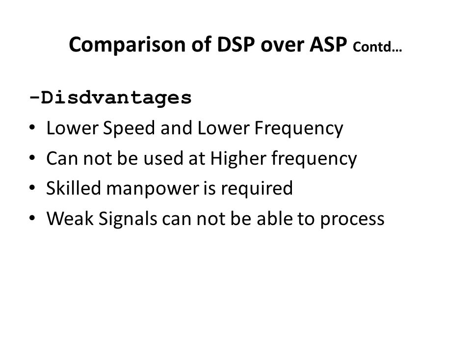 Comparison of DSP over ASP Contd…