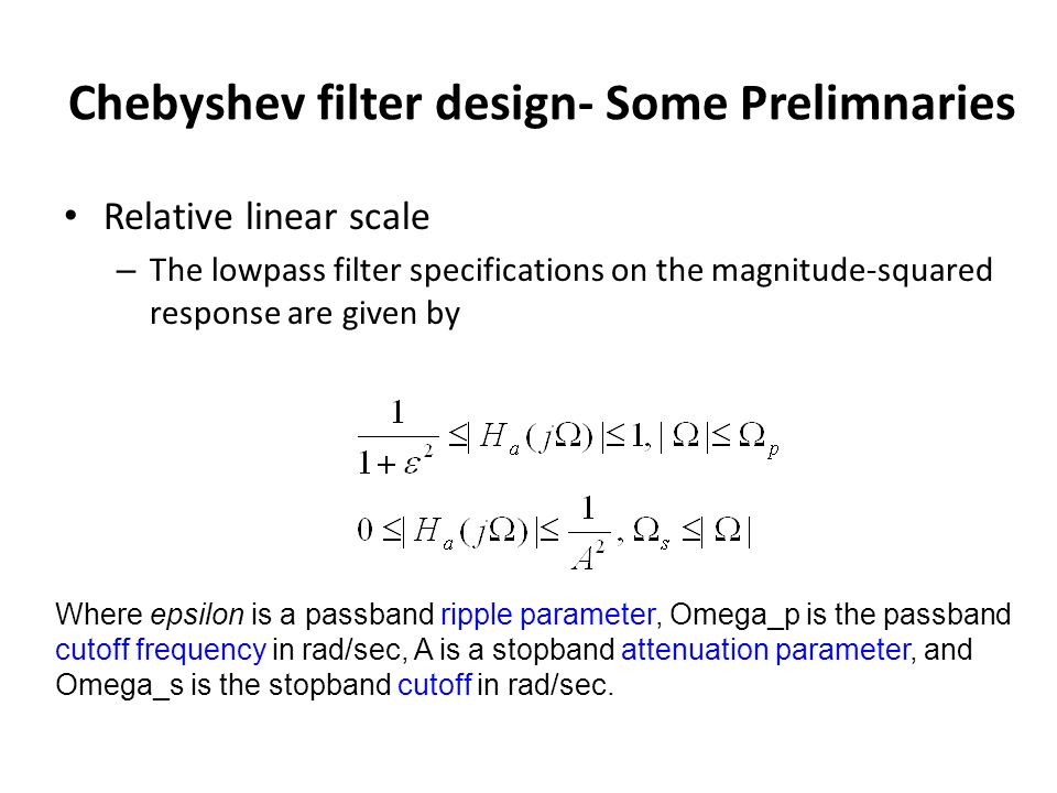 Chebyshev filter design- Some Prelimnaries